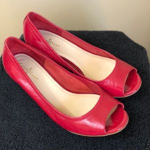 Cole Haan red patent leather Nike air wedge EUC